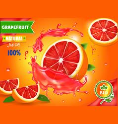 fresh grapefruit juice ad refreshing citrus drink vector image vector image
