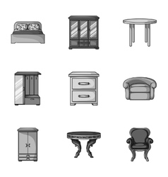 Furniture and home interior set icons in vector