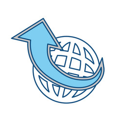 global sphere and arrow icon vector image vector image