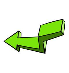 Green broken arrow icon icon cartoon vector