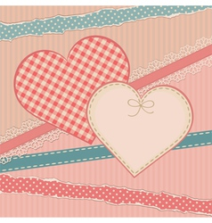 Greetings vintage card with heart form vector image