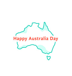 happy australia day with green continent vector image