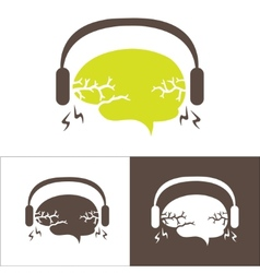 Image of the brain with headphones vector image vector image