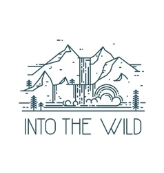 Into the wild Rainbow in waterfall Linear vector image vector image