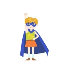 Kid in superhero costume with blue cape vector