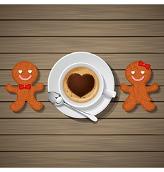 Loving couple of gingerbread and coffee cup vector