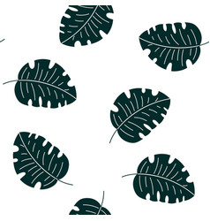 Monstera tropical leaves seamless pattern vector