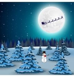 Night christmas forest landscape santa claus vector