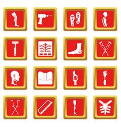 Orthopedics prosthetics icons set red vector