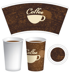 Paper cup for hot drink with cup of coffee vector