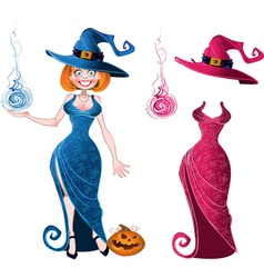 Pretty witch with fierball in blue dress and pink vector