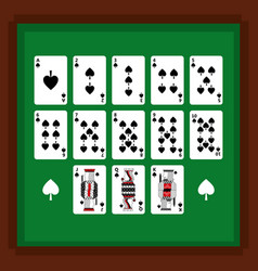 set of poker playing cards of spade suit on green vector image