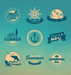 Set of summer retro design elements Vintage vector image