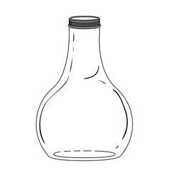Silhouette wide glass bottle down vector