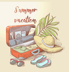 summer beach vacation tropical trip hand drawn vector image vector image