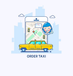 taxi service taxi app thin line vector image