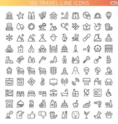 Travel line icons vector