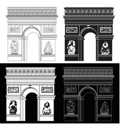Triumphal arch in black and white vector