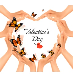 Valentines day background hands in a shape of a vector