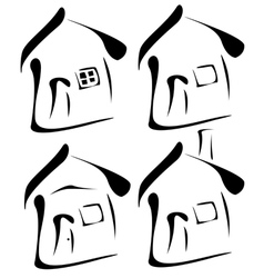 black houses silhouettes vector image