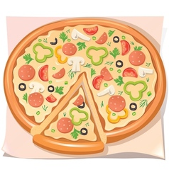 Pizza with salami cheese and vegetables vector