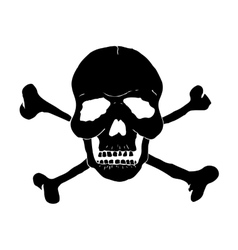 Skull and bones of black on a white background vector