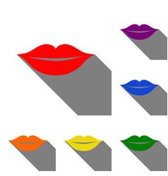 Lips sign  set of red orange yellow vector