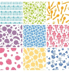 Set of nine food seamless patterns backgrounds vector