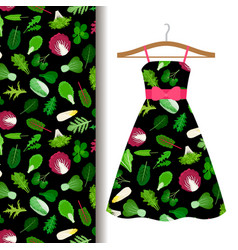 Women dress fabric pattern with vegetables vector