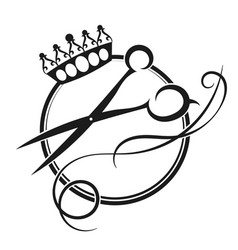 scissors and crown silhouette vector image