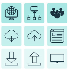 set of 9 world wide web icons includes login vector image