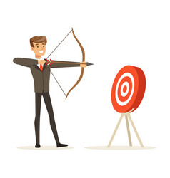 Cheerful businessman aiming target with bow and vector