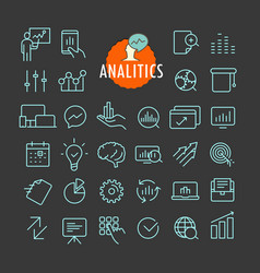 Different analitics icons collection web and vector