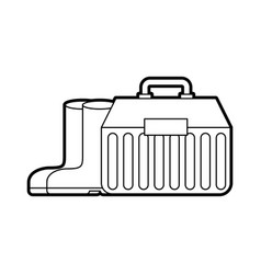 Fishing kit box with boots vector