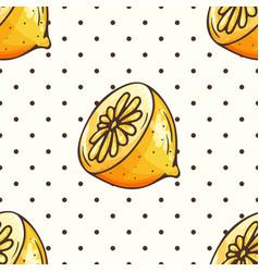 Lemon pattern with polka dots vector