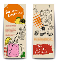 Cocktails flyers templates on wooden background vector