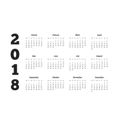 2018 year simple calendar on german language vector image