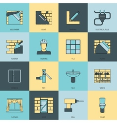 Home repair icons flat line set vector