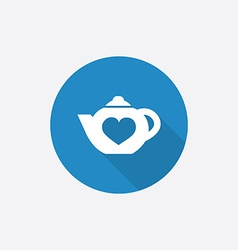 teapot Flat Blue Simple Icon with long shadow vector image
