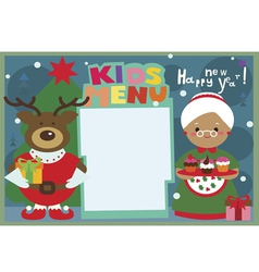 Kids menu a3 format winter holiday with deer and vector