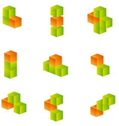 3d cubes set vector image