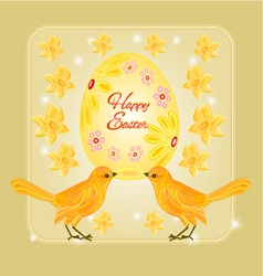 Gold birds and easter eggs place for text vector