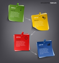 Info graphic with colored note paper template vector