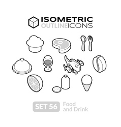 Isometric outline icons set 56 vector
