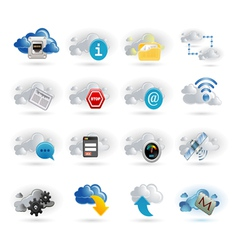 Cloud network icon set vector