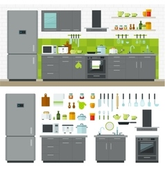 Modern kitchen utensils furniture interior vector