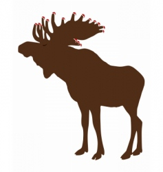 Elk with santa claus caps vector