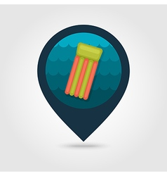 Floating mattress on beach pin map icon summer vector