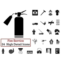 Set of 24 fire service icon vector