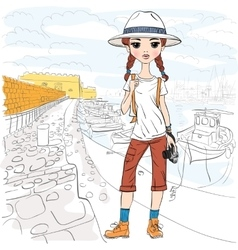 Girl traveler with photo camera in port vector
